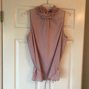 Pink Cotton Gap Ruffle Neck Top w/ tie waist